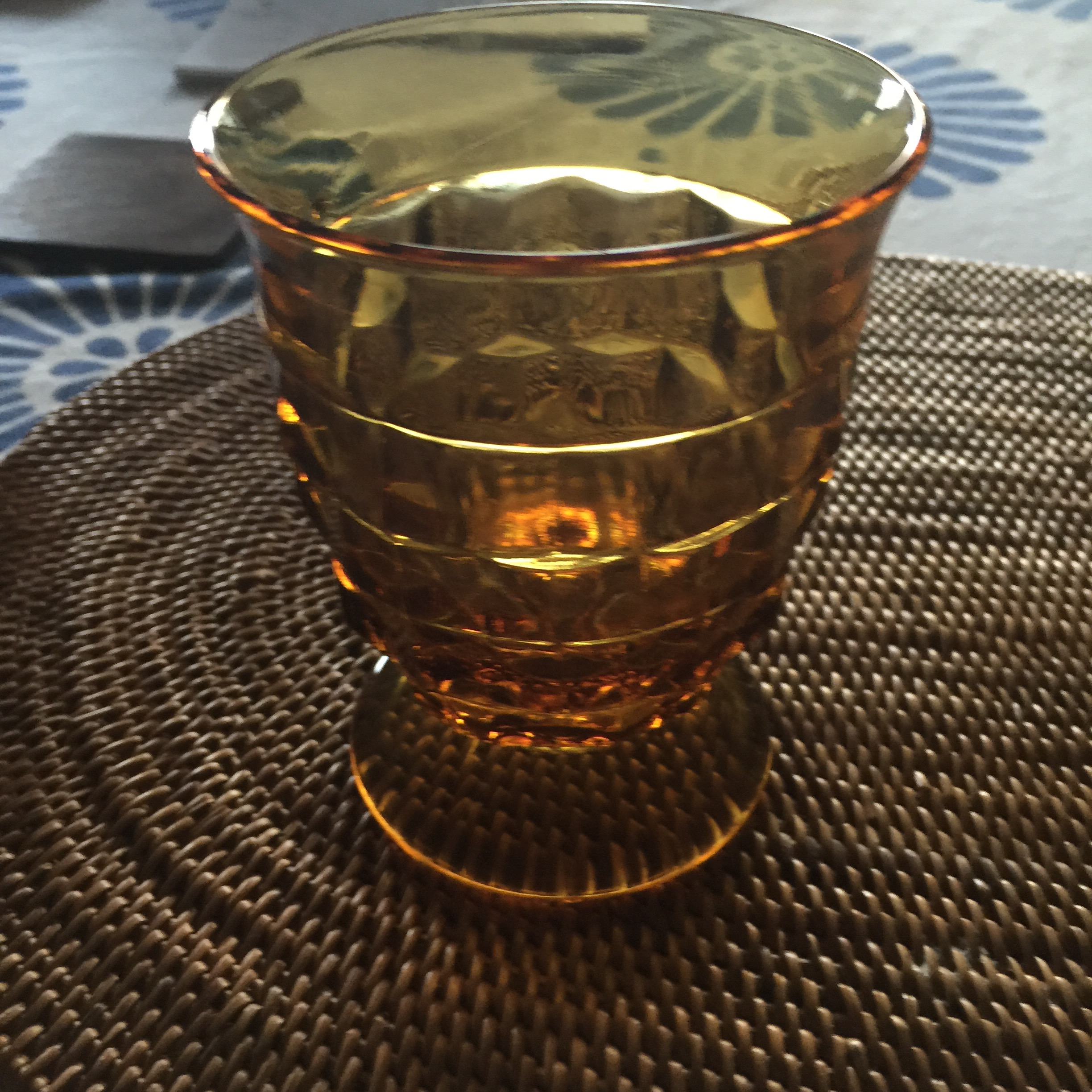 a vintage brown glass