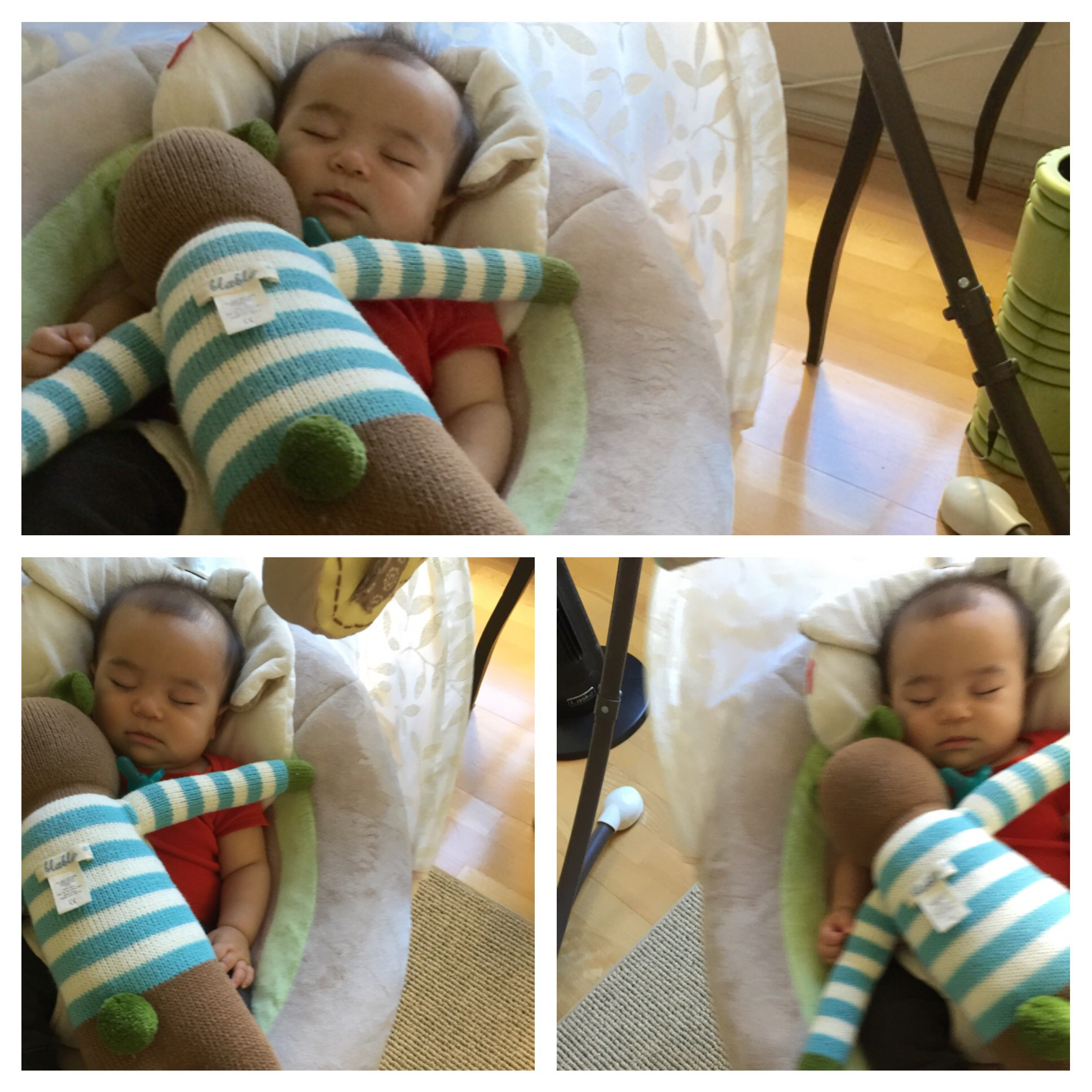 Baby on a swinger, sleeping