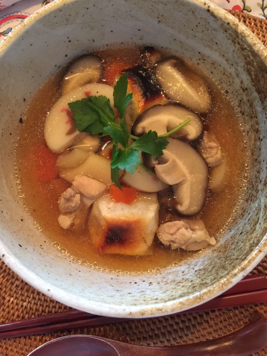 This is Ozouni. Japanese chicken and mochi soup that we eat for New Years Day to wish our health.